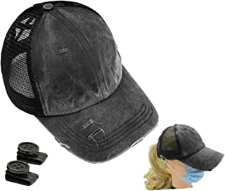 Black Ponytail Washed Dad Hat Messy High Bun Ponycaps Baseball Cap with Button for Mask