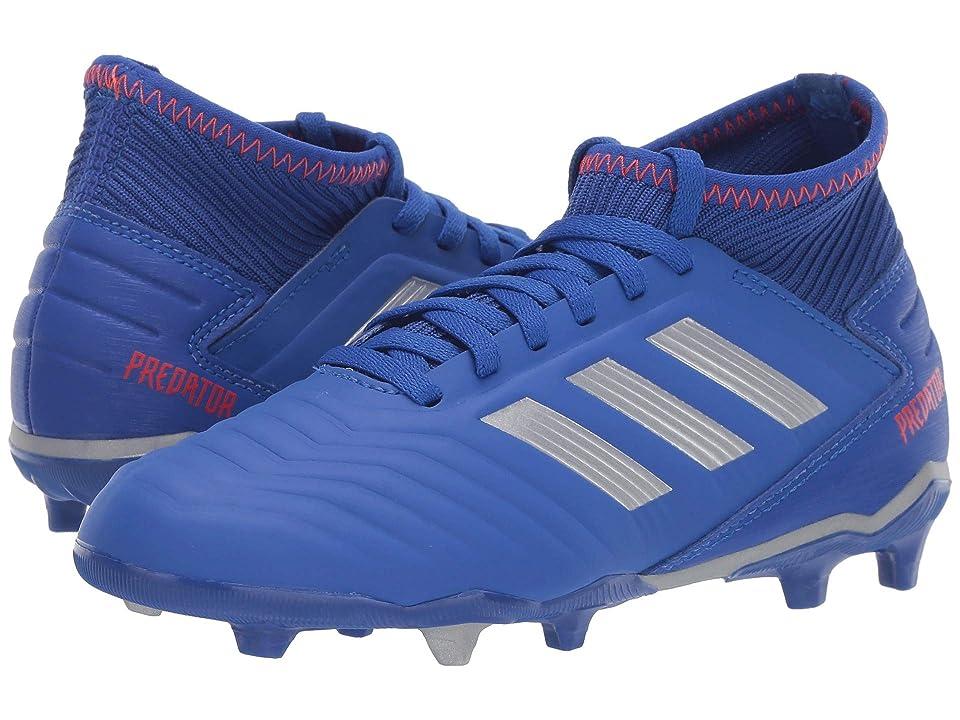 adidas Kids Predator 19.3 FG Soccer (Little Kid/Big Kid) (Blue/Silver/Active Red) Kids Shoes