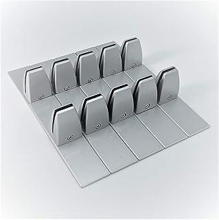 パーテーション台座 3-6mm厚対応 合金製 据置型 衝立スタンド シルバー (取付用レンチ付) 10個セット