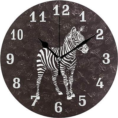 Linomo Animal Zebra Print Wall Clock Decor, Silent Non Ticking Round Clock Quiet for Kitchen