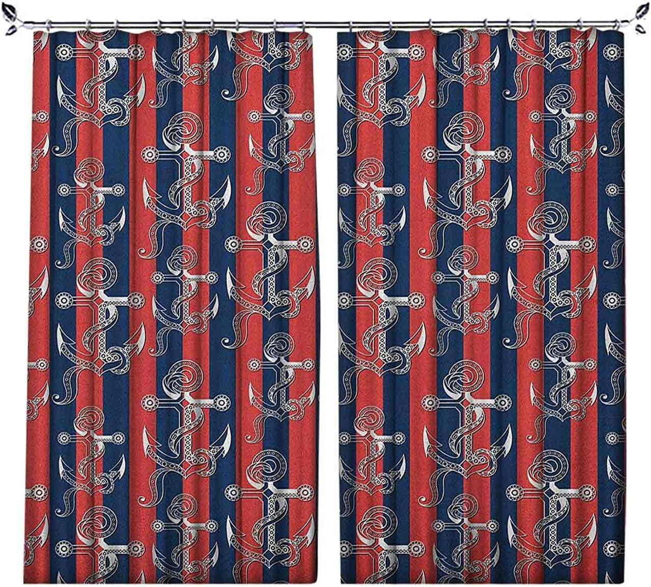 Cortina plisada con diseño de rayas verticales con figuras artísticas Harbor Seaport Marine Life, para dormitorio, jardín de infantes, sala de estar, 52 x 63 pulgadas, color azul marino y blanco