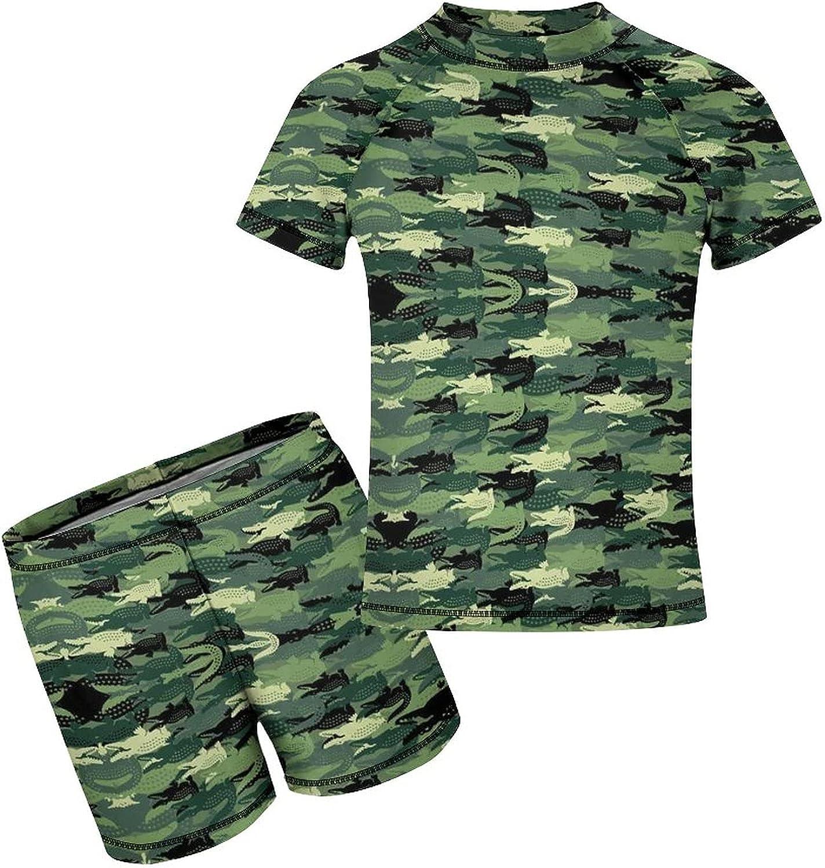 Yiaoflying Kids Boys 2 Piece Swim Set - Crocodile Camouflage Rash Guard Swimsuit Trunks