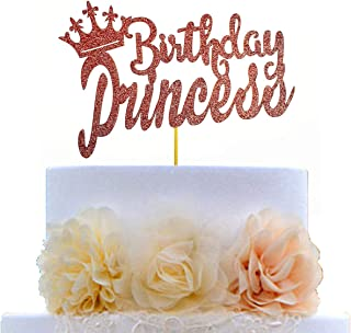 Rose Gold Glittery Cake Topper for Princess Birthday Party Decorations