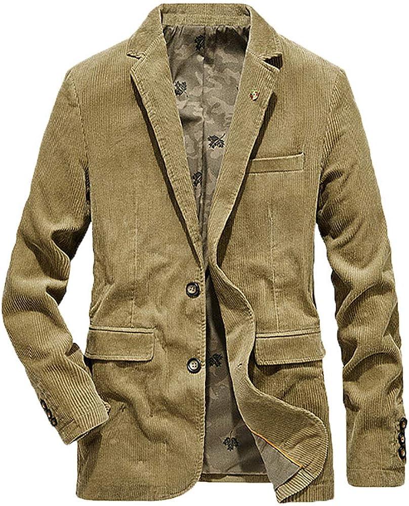 Nutriangee Mens Casual Corduroy Slim Fit Blazer Jacket Vintage Lapel 2 Button Fashion Lightweight Sports Coats