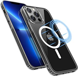 SW.K Clear Case for iPhone 13 Pro Max 6.7 Inch [Support Wireless Charging][Anti Yellowing] Magnetic Cover Shockproof Anti ...