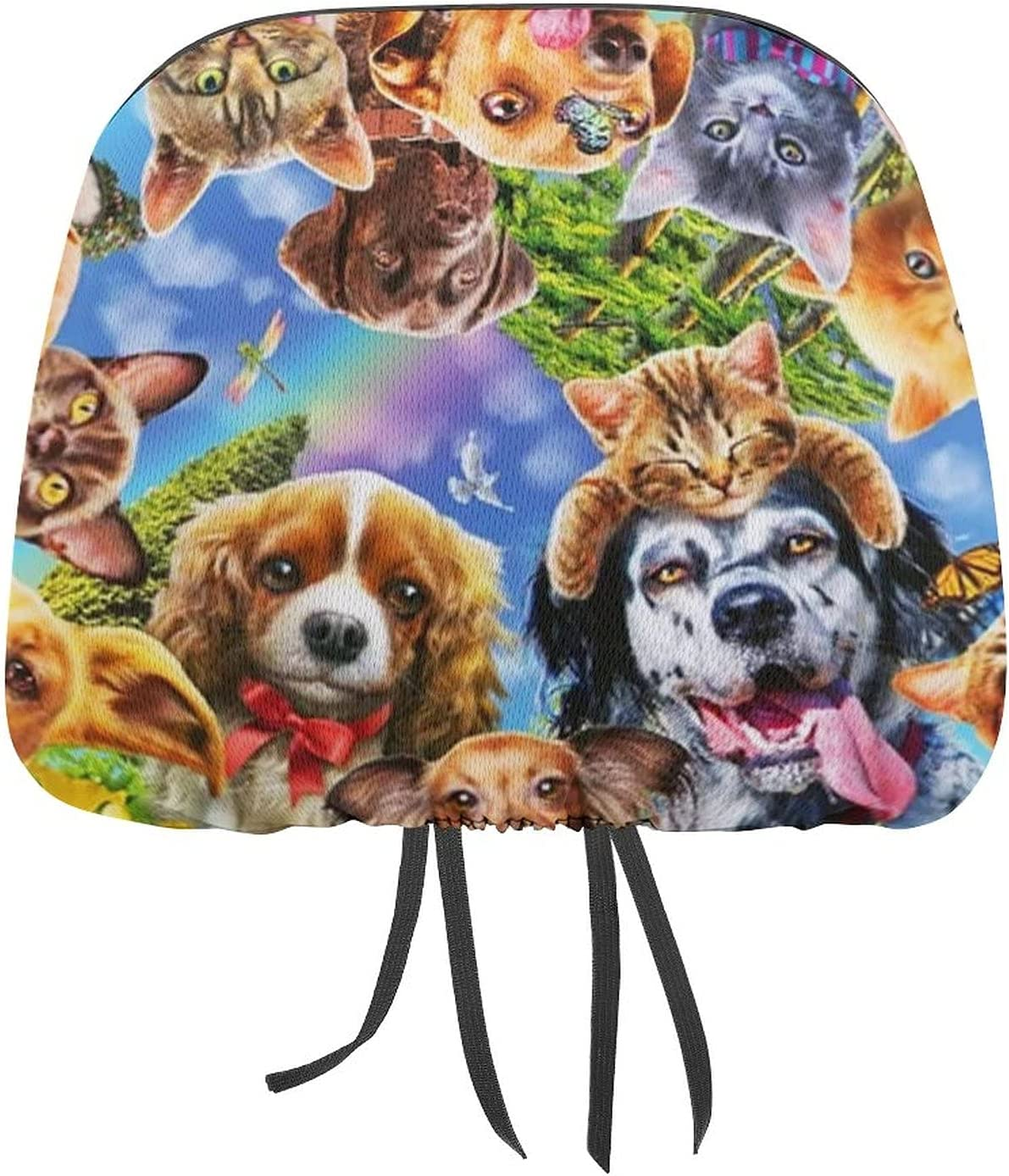 STWINW Car online shop Seat Head Rest Cover Animal Covers Headrest Cheap super special price Dog Cat f