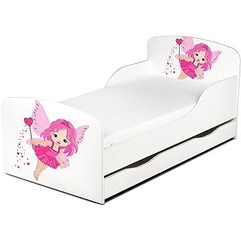 Leomark Moderne Lit d'enfant Toddler 140/70 cm Motif la fée Lit pour Enfant avec tiroir à Ranger + Matelas