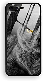 iPhone 8 Plus Case,Yellow Eyes Cats Hard Ultra Thin Slim Case Anti-Scratch with [Tempered Mirror + Glossy Coating] Full Protective Compatible for iPhone 8 Plus