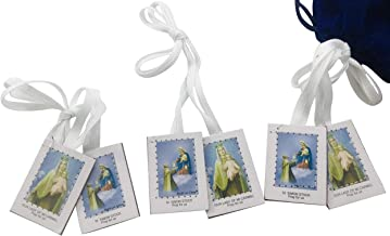 White Scapular Medal Catholic Our Lady of Mount Carmel Bulk Pack with Gift Bag, Set of 12