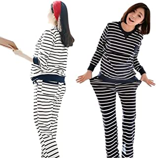 (panda store) マタニティ パジャマ 長袖 授乳服 授乳口 産後 妊婦 ボーダー 家着 春 スウェット 脱がずに授乳 ウェスト調整