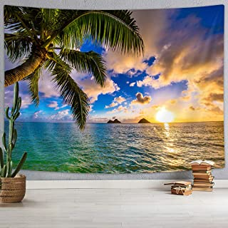 Ocean Beach Tapestry, Palm Tree Leaves in Tropical Sea Sunset Sunrise Wall Tapestry, Nautical Shower Curtain Vacation Beac...