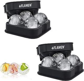 ASPECTEK 2x4 Flamen Runden Eiswürfelform Eiskugelform – BPA freie Silikon-Eisform mit Deckel – formt Runde Eiswürfel mit 4x4,5 cm Durchmesser – Ideal für Whiskey, Cocktails alkoholfreie Kaltgetränke