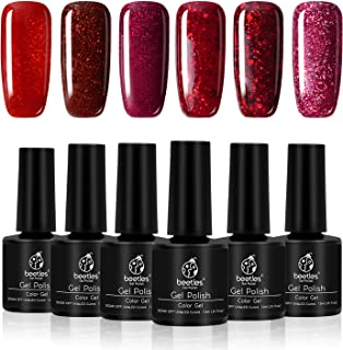 Beetles Red Glitter Gel Polish Set - Burgundy Red Pack of 6 Colors Long Lasting, Soak Off UV LED Gel, 7.3ml Each Bottle