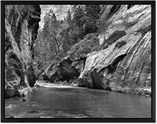 The Narrows Of Virgin River In Zion National Park - Art Print Wall Art Canvas stretched With Black Wooden Frame - Black and White - Ready To Hang - 16x12 Inches