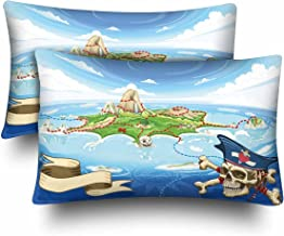 InterestPrint Neverland Adventure Pirate Treasure Island Map Pillow Cases Pillowcase Queen Size 20x30 Set of 2, Rectangle Pillow Covers Protector for Home Couch Sofa Bedroom Decoration