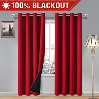 DWCN 100% Blackout Curtains – Thermal Insulated, Energy Saving & Noise Reducing Bedroom and Living Room Curtains with Liner, Red, W 52 x L 84 Inch, 2 Panels