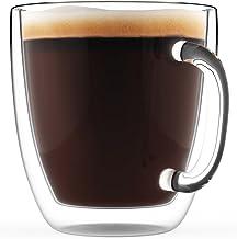 Double Wall Glass Heatproof Coffee Tea Soup Mug Cup with Handle 350ml