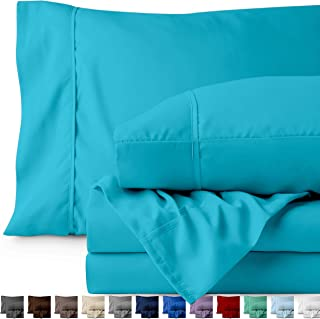 Bare Home Twin XL Sheet Set - College Dorm Size - Premium 1800 Ultra-Soft Microfiber Sheets Twin Extra Long - Double Brushed - Hypoallergenic - Wrinkle Resistant (Twin XL, Aqua)