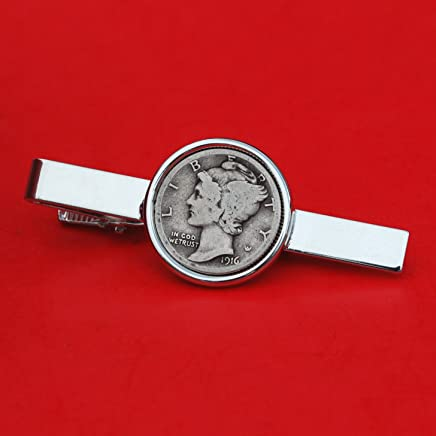 US 1916 Mercury Dime 90% Silver 10 Cent Coin Silver Plated Tie Clip Bar Pin NEW