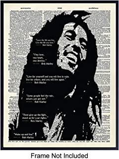 Bob Marley Quotes Dictionary Wall Art Print - Vintage Home Decor for Living Room, Bedroom, Dorm Room, Den, Man Cave - Perfect Gift for Reggae Fans - 8x10 Photo - Unframed