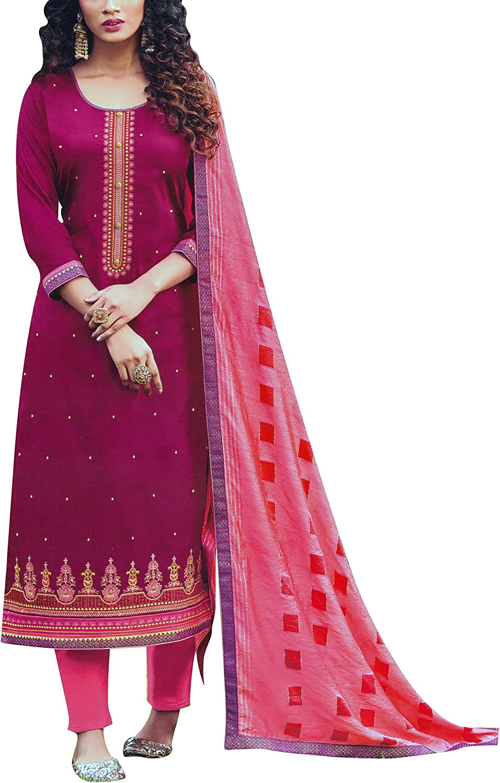 ladyline Cotton Rich Embroidered Salwar Kameez Suit with Weaving Dupatta & Pants