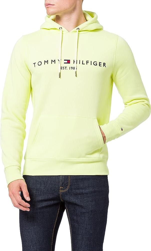 Tommy hilfiger tommy logo hoody felpa per uomo con cappuccio 70% cotone organico 30% poliestere MW0MW11599B