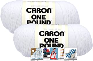 Caron One Pound Yarn - 2 Pack with Pattern Cards in Color (White)