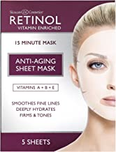 Retinol Anti-Aging Sheet Mask - Hydrating Vitamin-Enriched 15 Minute Treatment With Collagen Firms Face - Exfoliates for Improvement In Tone & Minimizes Fine Lines & Wrinkles For Noticeable Difference