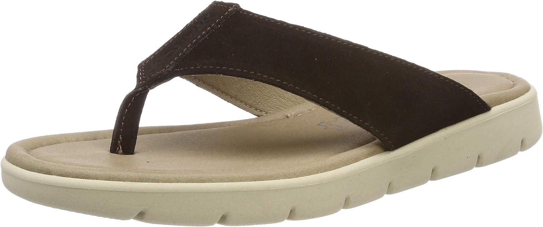 Marc Shoes Men's Garda Flip Flops, Brown Cow Suede T D Moro 00108, 7.5