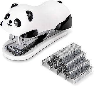 مكابس سطح المكتب على شكل باندا من ديلي ميني، وكباس مكتب، سعة 12 ورقة، تتضمن مزيل التيلة المدمج و1000 قطعة رقم 10 دبابيس.