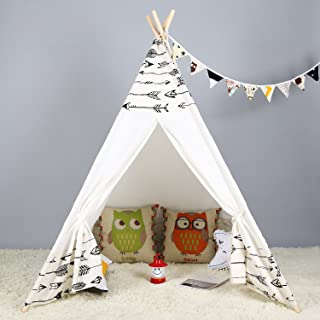 Kids Teepee Indoor Play Tent - Large Cotton Canvas Children Indian Tipi Playhouse with Carry Case by Steegic (Arrow)