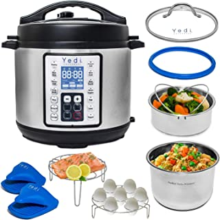 Yedi Houseware 9 in 1 Total Package Instant Programmable Pressure Cooker, 6 Quart, Stainless Steel