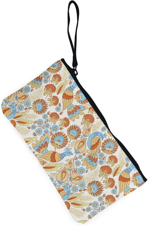 AORRUAM Flower and bird pattern Canvas Coin Purse,Canvas Zipper Pencil Cases,Canvas Change Purse Pouch Mini Wallet Coin Bag