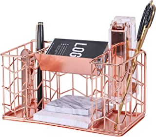 Simmer Stone Desk Accessories Organizer, 2 Pen Holders with Business Card Holder and Sticky Note Holder, Decorative Wire Home Office Supplies Organizer Caddy, Rose Gold