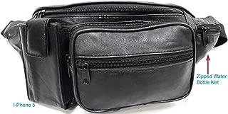 5 Pockets Large Genuine Leather Waist Bag with Water Bottle Holder 3 Color