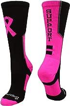 MadSportsStuff Pink Ribbon Breast Cancer Awareness Support Athletic Crew Socks
