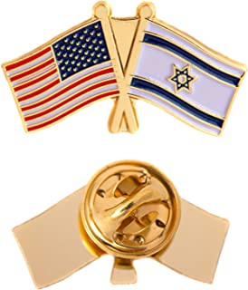 Israel Country Double Flag Lapel Pin Enamel with United States USA US Souvenir Hat Men Women Patriotic Israeli (Double Flag Pin)
