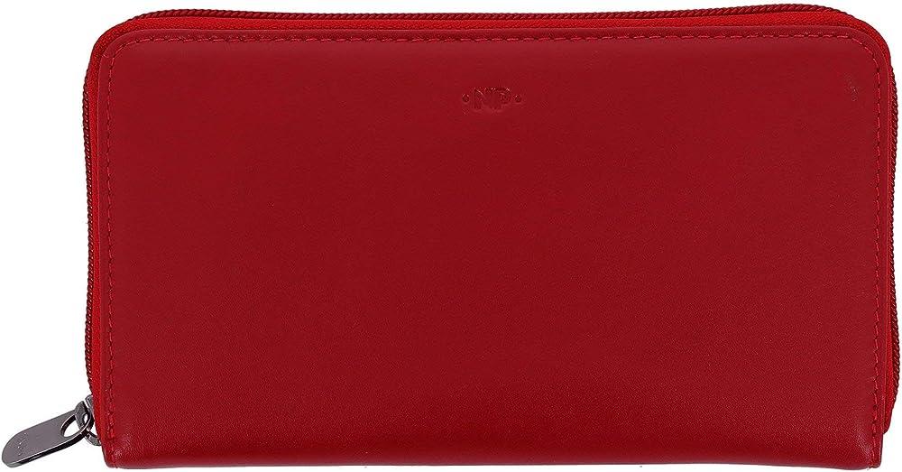 Nuvola pelle, portafoglio, porta carte di credito da donna grande, in vera pelle, multi tasche rosso 8031847166569
