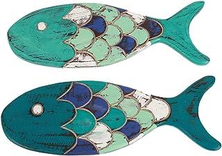 Wanddekoration Fische, Holz, 37,7 cm, handgeschnitzt, Blau u