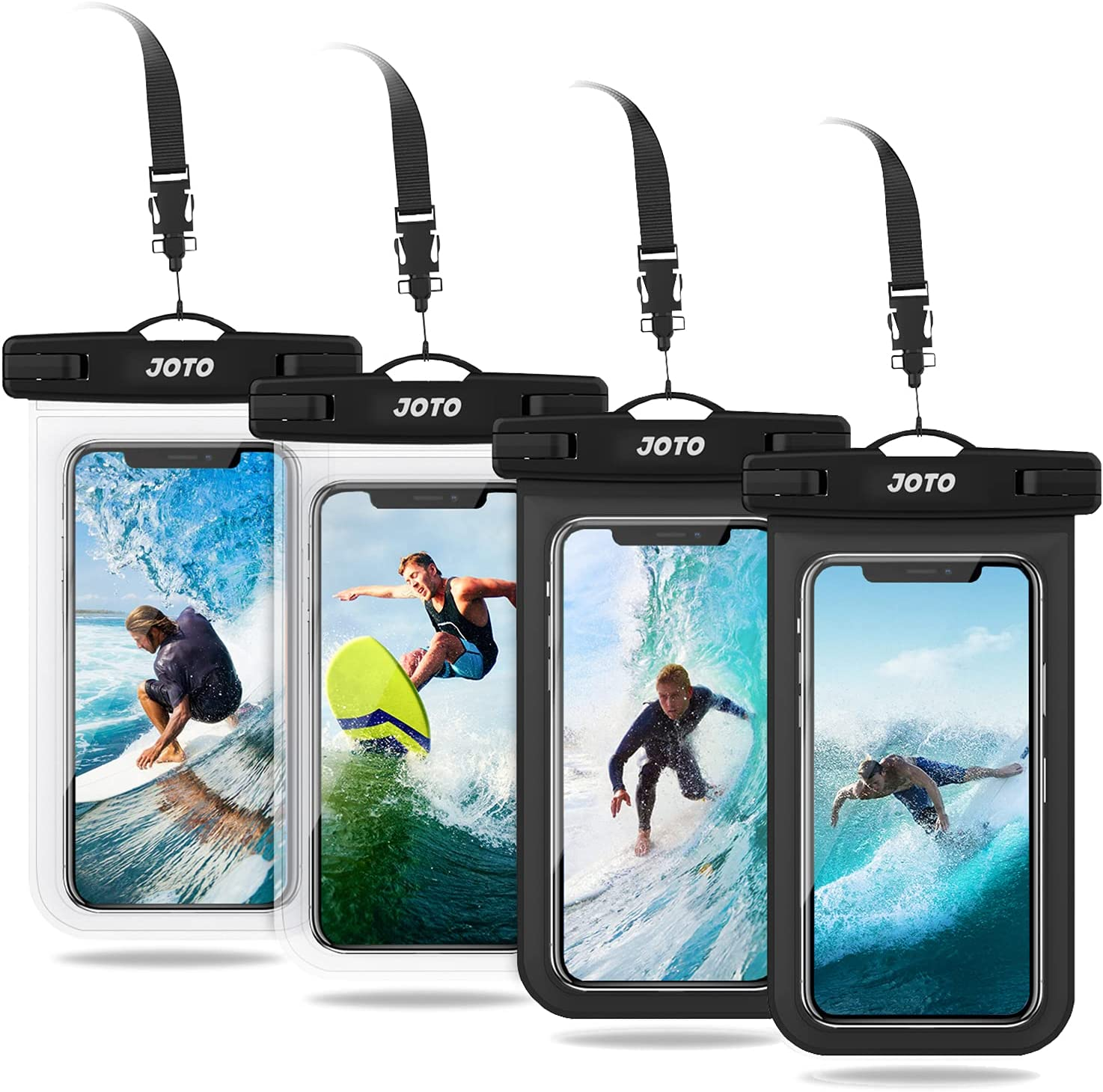 JOTO Universal Waterproof Phone Pouch up to 7 inch, Dry Bag Underwater Case for iPhone 13 Pro Max 12 11 XS XR 8 7 Plus, Galaxy S21 Ultra/A42/S10 Note10,Moto,Pixel -4 Pack, 2Black/2Clear