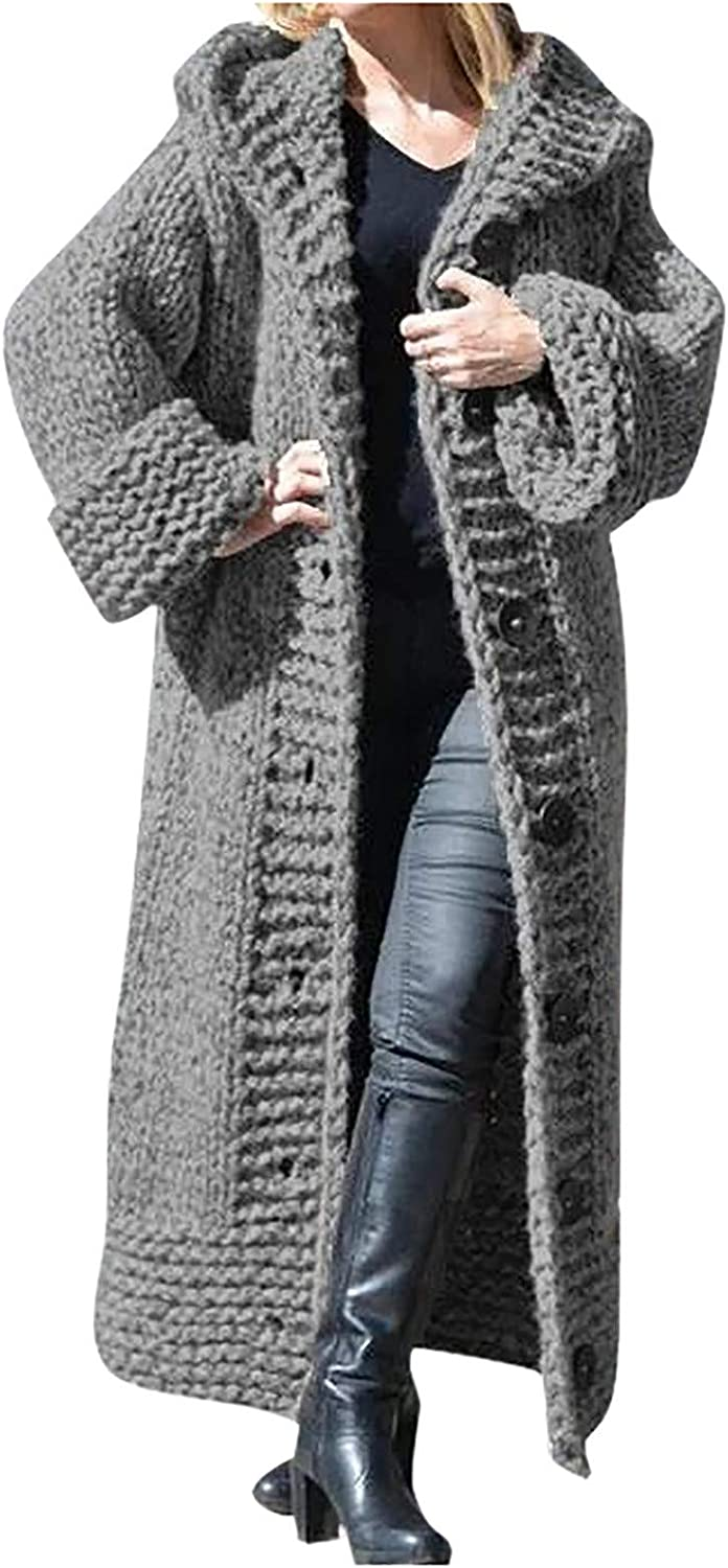 Amaeen Coats for Womens Fashion Super special price Solid Long Cardiga Sweater Trust Color