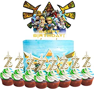 Party Supplies for Zelda Cake Topper Cupcake Toppers Theme Birthday Supplies Favors 2