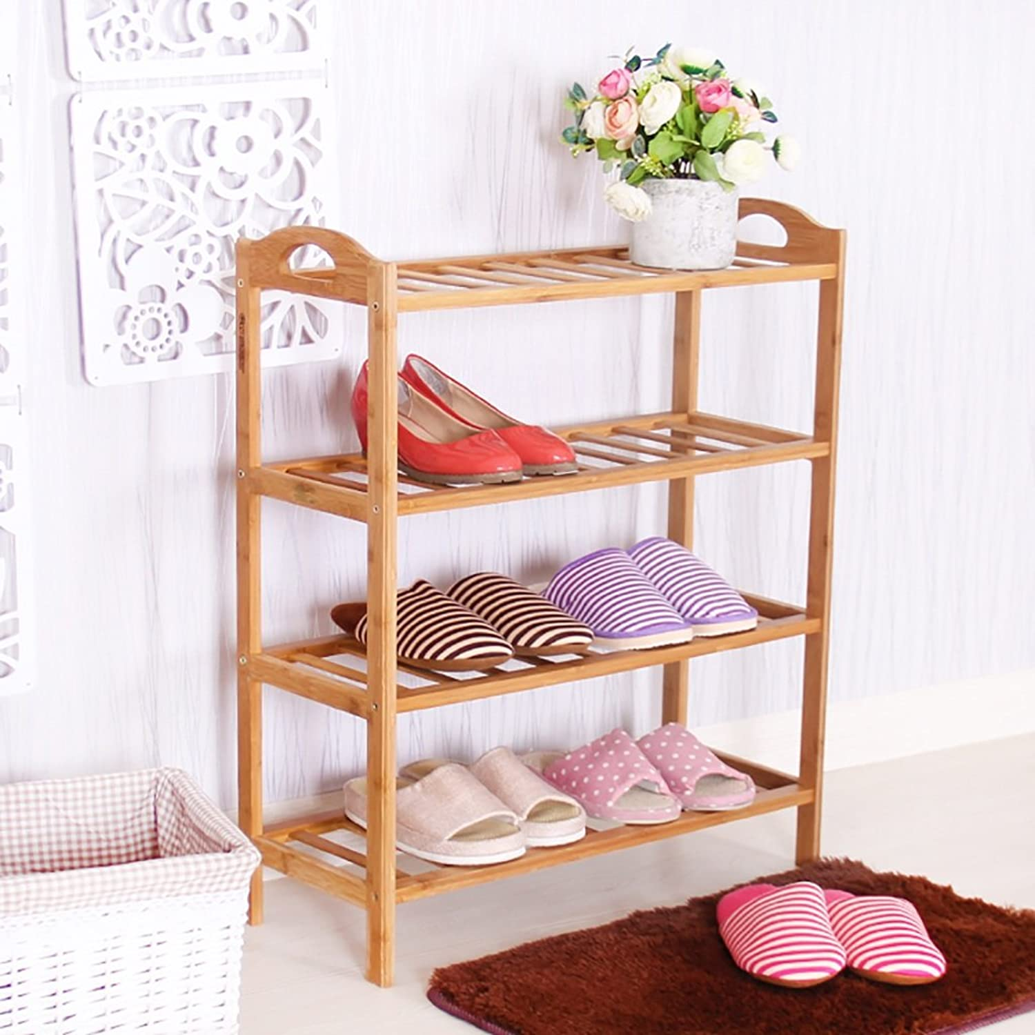 shoes Bench Organizing Rack Bamboo shoes Rack Door Dormitory Home Living Room Storage Frame Creative Multi - Storey European Wooden shoes Rack (Size   58cm)