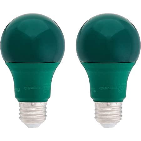 Amazon Basics 60 Watt Equivalent, Non-Dimmable, A19 LED Light Bulb | Green, 2-Pack