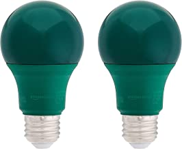 AmazonBasics 60 Watt Equivalent, Non-Dimmable, A19 LED Light Bulb | Green, 2-Pack