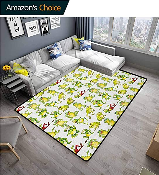 YucouHome Nursery Animals Girls Rooms Nursery Decor Mats Frogs In Different Positions Funny Happy Cute Expressions Faces Toads Cartoon Easy Maintenance Area Rug Living Room Bedroom Carpet 2 X 6