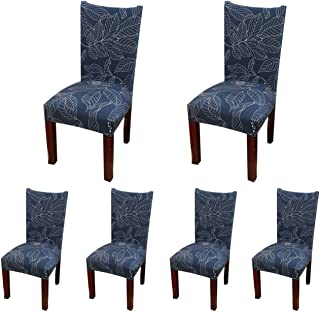 SoulFeel 6 x Soft Spandex Fit Stretch Short Dining Room Chair Covers with Printed Pattern, Banquet Chair Seat Protector Slipcover for Home Party Hotel Wedding Ceremony (Style 11)