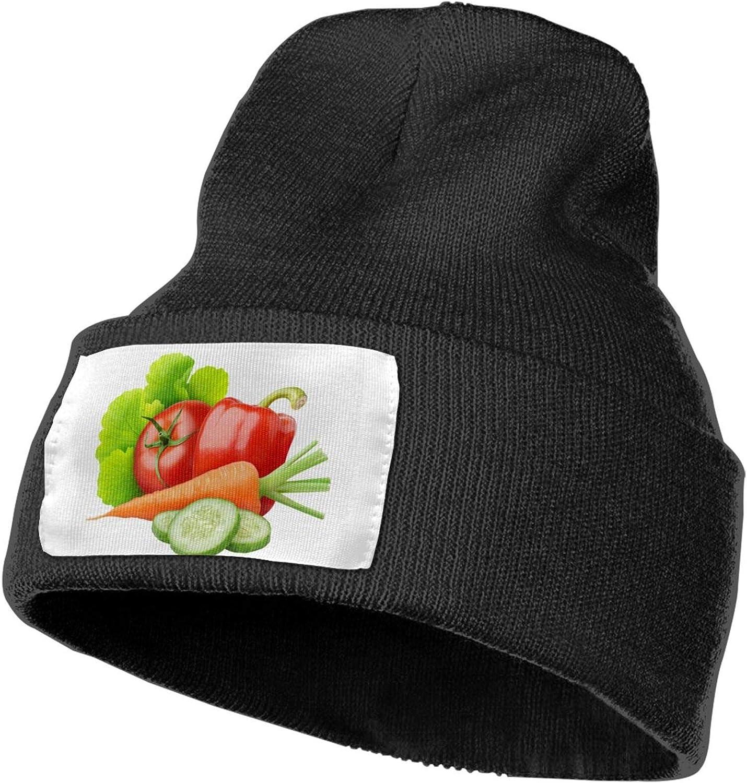 Beanie Hat Fresh Vegetables Winter Knit Cap for Men Women Black