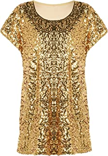 39e99894a15 PrettyGuide Women's Sequin Top Shimmer Glitter Loose Bat Sleeve Party Tunic  Tops