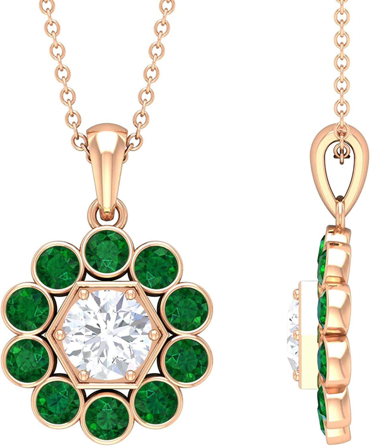 1.75 CT Bezel Set Moissanite Pendant Necklace with Created Emerald Halo (D-VSSI Quality),14K Rose Gold,Moissanite